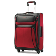 black and red luggage