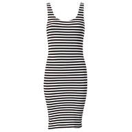 black white strips dress