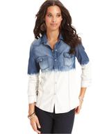 blossom&clover long sleeve dip dye chambray shirt