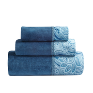 blue flower towels