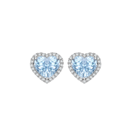 blue heart diamond earrings