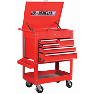 glossy red tool cart