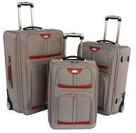 grey orange suitcases