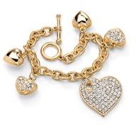 heart charm gold bracelet truckloads