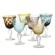multi color wine glasses