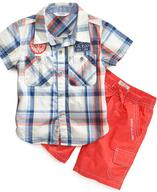 plaidshort sleevedshirtandcargoshorts suppliers