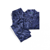 ralph lauren navy paisley satin pajama set womens