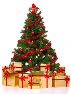 closeout red decorated tree gold presents