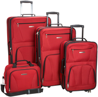red multi luggage