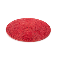 red pink round table mat