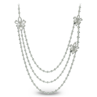 silver diamond long necklace