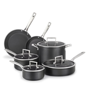 stack of pots pans