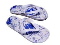 white blue used flipflops