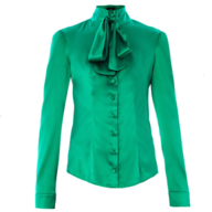 womens green satin blouse